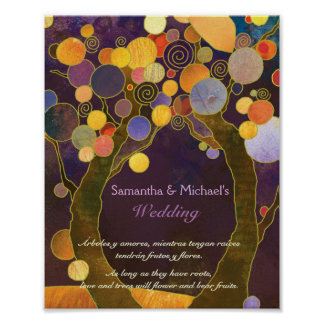 Rustic Love Trees Purple Wedding Sign Poster