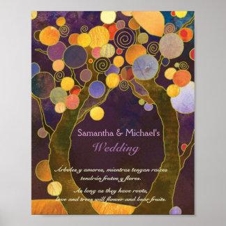 Rustic Love Trees Purple Wedding Sign Poster