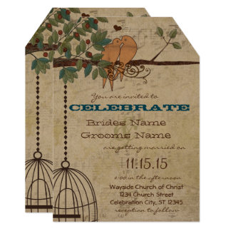 Rustic Lovebirds Sitting In A Tree Wedding Card