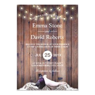 Rustic Lovebirds String Lights Barn Wood Wedding Card
