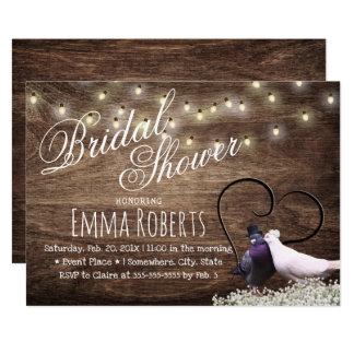 Rustic Lovebirds & String Lights Bridal Shower Card