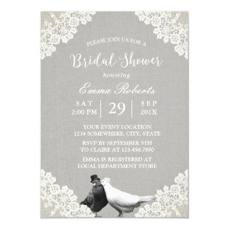 Rustic Lovebirds White Lace Elegant Bridal Shower Card