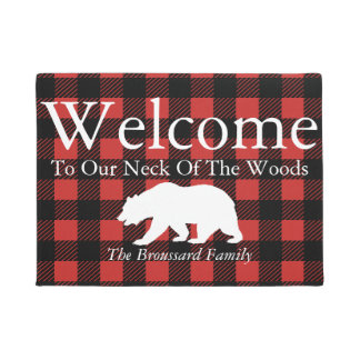 Rustic Lumberjack Plaid & Bear Family Name Doormat