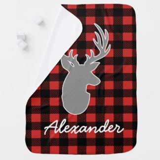 Rustic Lumberjack Plaid & Gray Deer Baby's Name Baby Blanket