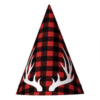 Rustic Lumberjack Plaid & White Deer Antlers Party Hat