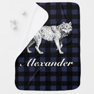 Rustic Lumberjack Plaid & Wolf with Baby's Name Baby Blanket