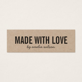 Rustic Made with Love Kraft Social Media Mini Business Card