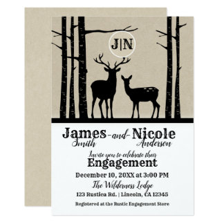 Rustic Male Female Doe Deer Black Birch Engagement Card