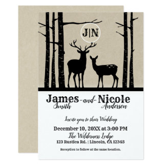 Rustic Male & Female Doe Deer Black Birch Wedding Card