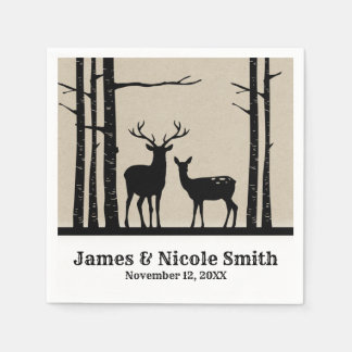 Rustic Male Female Doe Deer Black Birch Wedding Disposable Napkins