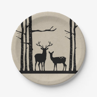 Rustic Male Female Doe Deer Black Birch Wedding Paper Plate