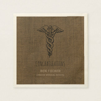 Rustic Male Nurse Graduation Party | Caduceus Disposable Napkins