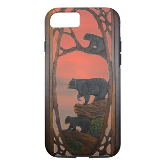 Rustic, Mama Bear and Cubs, Sunset iPhone 7 Case