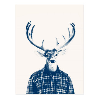 Rustic Man Buck with Antlers in Blue and Cream Postcard