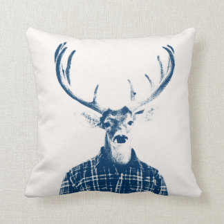 Rustic Man Buck with Antlers in Blue and Cream Throw Pillow
