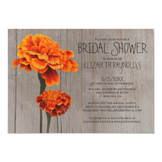 Rustic Marigolds Bridal Shower Invitations