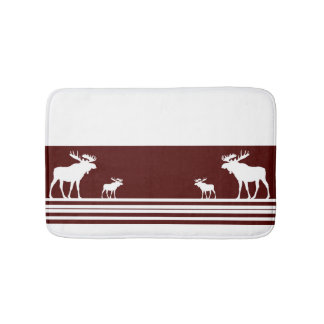 Rustic maroon moose memory foam bath mat