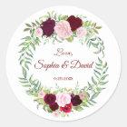 Rustic Marsala Floral Wreath Burgundy Wedding RSVP Classic Round Sticker