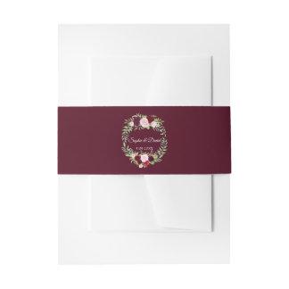 Rustic Marsala Floral Wreath Burgundy Wedding RSVP Invitation Belly Band