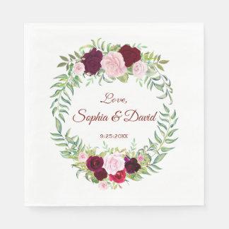 Rustic Marsala Floral Wreath Burgundy Wedding RSVP Paper Napkin