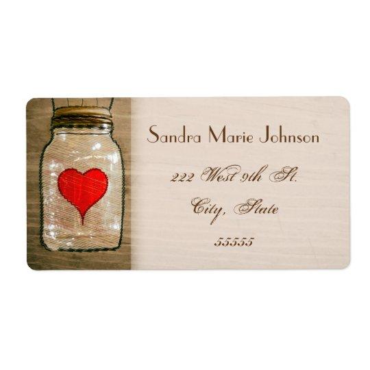 Rustic Mason Jar and Hearts Wedding Address Labels