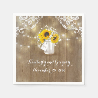 Rustic Mason Jar and Sunflowers with Baby's Breath Paper Napkins