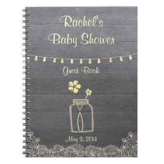 Rustic Mason Jar Baby Shower Notebook