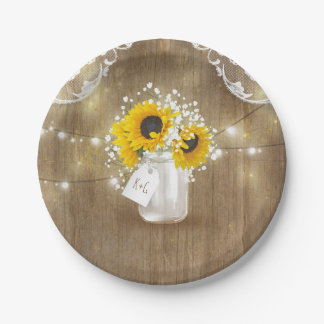 Rustic Mason Jar Baby's Breath and Sunflowers Paper Plate