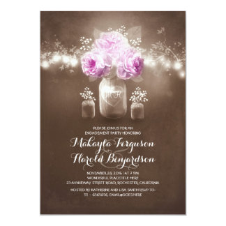 rustic mason jar barn lights engagement party card