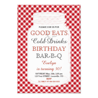 Rustic Mason Jar Birthday BBQ Invitation