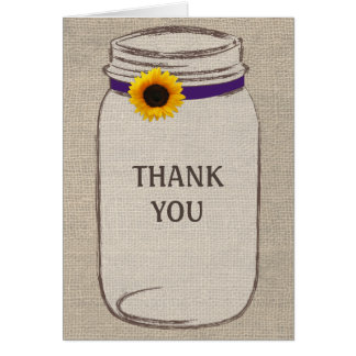 Rustic Mason Jar & Burlap Purple Gold Thank You Card