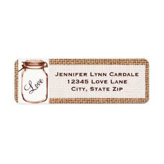 Rustic Mason Jar Burlap Wedding Address Labels