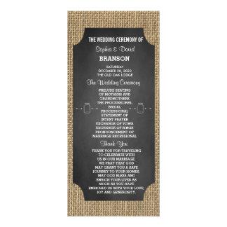 Rustic Mason Jar Burlap Wedding Program Custom