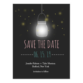 Rustic Mason Jar Fireflies Save The Date Postcard