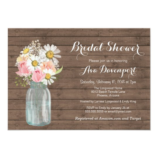 Rustic Mason Jar & Flowers Baby or Bridal Shower Card