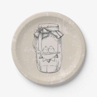 Rustic Mason Jar Hearts Tan Brown Wedding Paper Plate