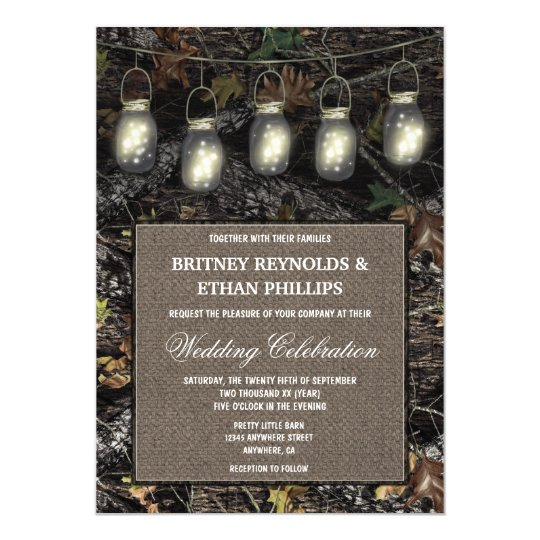 Rustic Mason Jar Hunting Camo Wedding Invitations