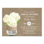 Rustic Mason Jar & Hydrangea Burlap Bridal Shower Card