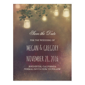 Rustic Mason Jar Lights and Branches Save the Date Postcard