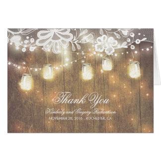 Rustic Mason Jar Lights and Lace Wedding Thank You Card
