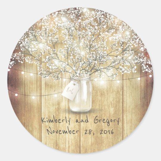 Rustic Mason Jar Lights Baby's Breath Wedding Classic Round Sticker