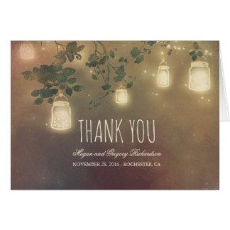 Rustic Mason Jar Lights Branches Wedding Thank You Card