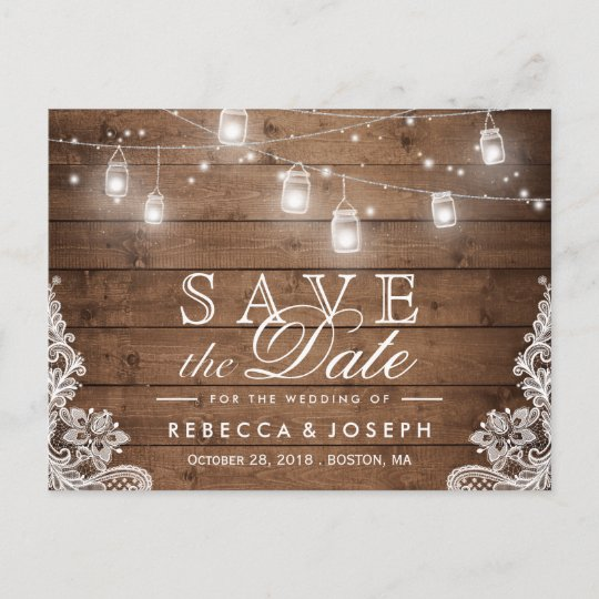 rustic mason jar lights lace wedding save the date announcement