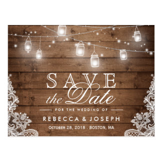 Rustic Mason Jar Lights Lace Wedding Save the Date Postcard