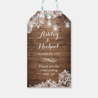 Rustic Mason Jar Lights Lace Wedding Thank You Pack Of Gift Tags