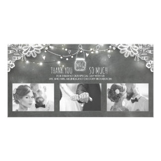 Rustic Mason Jar Lights Lace Wedding Thank You Photo Card