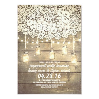 "Rustic Mason Jar Lights Lace Wood Engagement Party 5"" X 7"" Invitation Card"