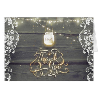 Rustic Mason Jar Lights Lace Wood Thank You Card