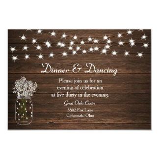 Rustic Mason Jar & Lights Wedding Reception Card