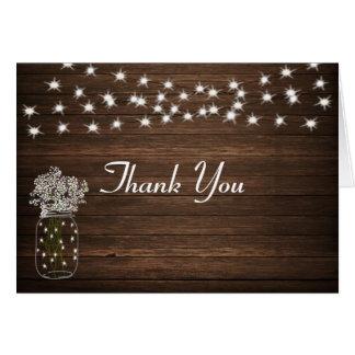 Rustic Mason Jar & Lights Wedding Thank You Card